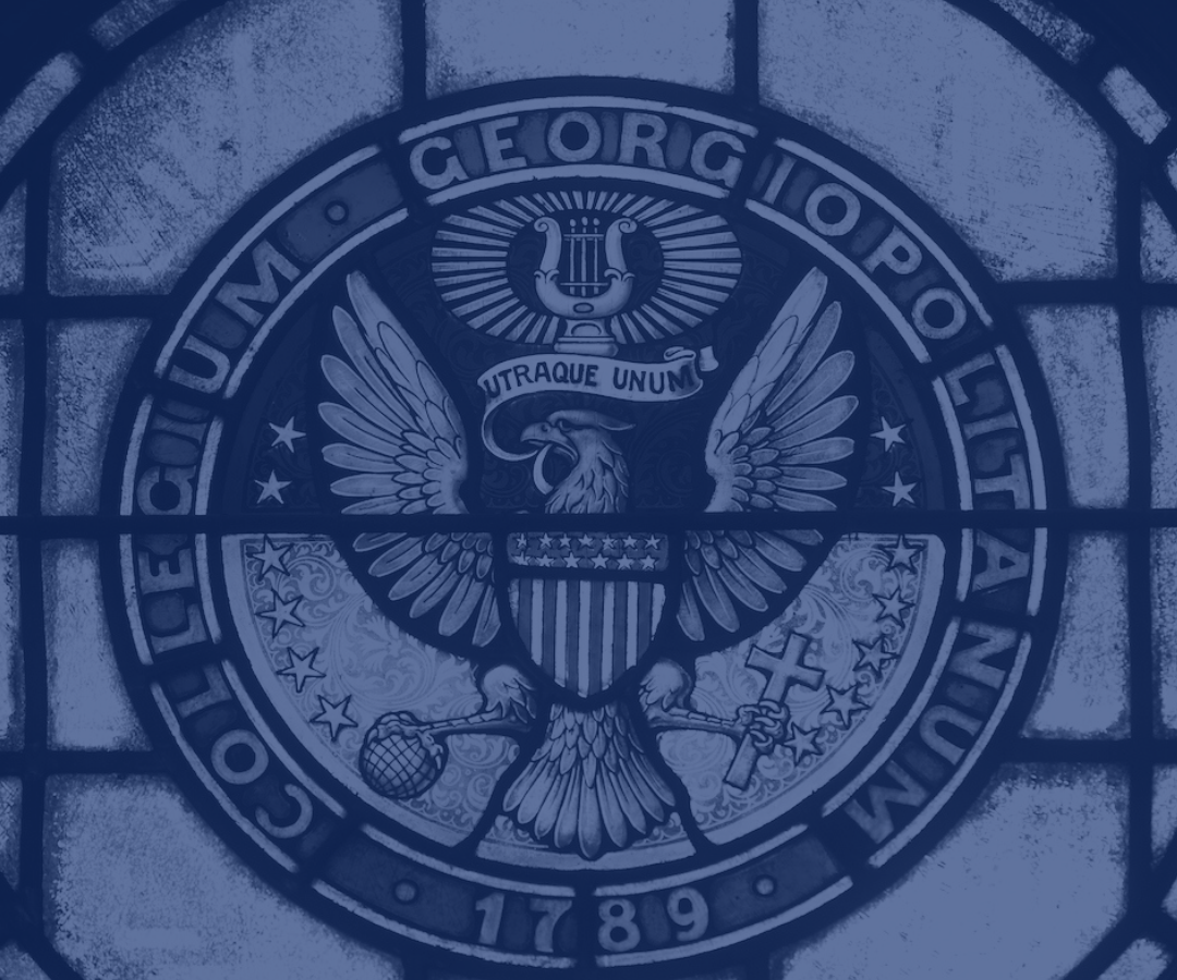 stained glass Georgetown seal